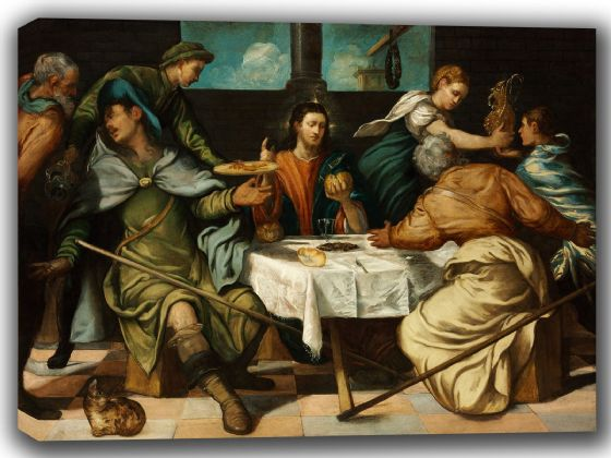 Tintoretto, Jacopo Robusti: The Supper at Emmaus. Religious/Biblical Fine Art Canvas. Sizes: A4/A3/A2/A1 (002000)